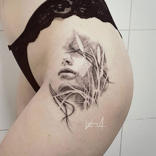 Simple Thigh Tattoos For Women