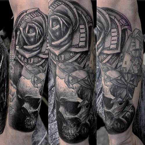 Skull and Money Tattoos