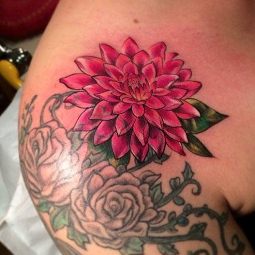 Vivid Pink Flower Tattoo Designs