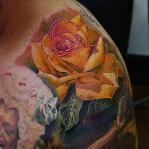 Yellow Rose Flower Tattoo
