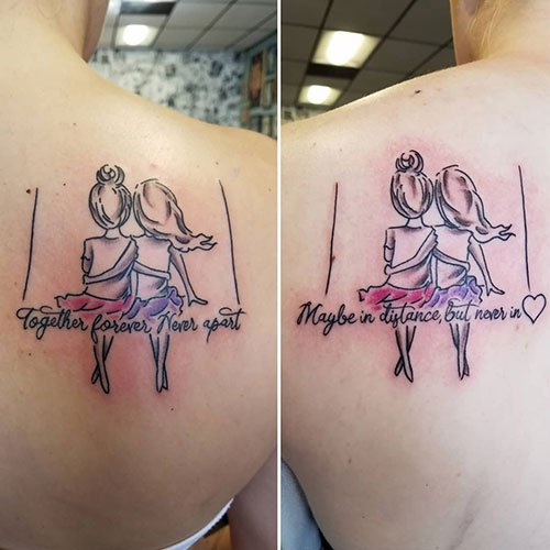 Adorable Matching Tattoo For Girls