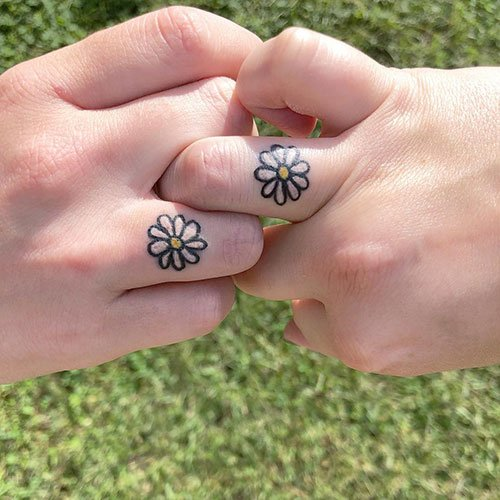 Cool Matching Finger Tattoo
