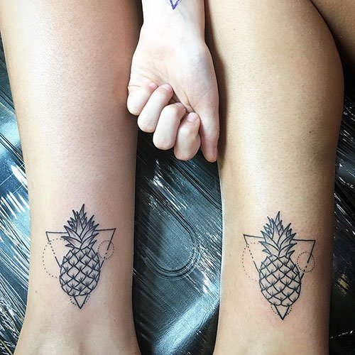 Cool Matching Pineapple Tattoo