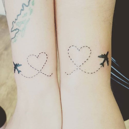 Cute Matching Airplane Tattoo