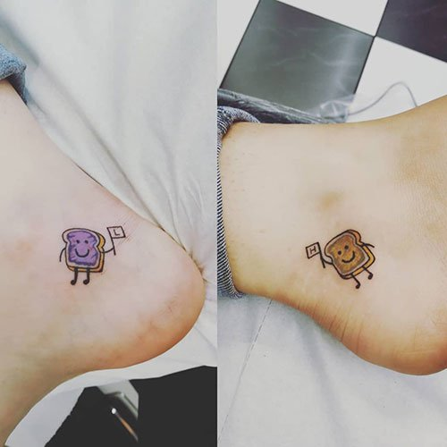 Matching Peanut Butter and Jelly Tattoo