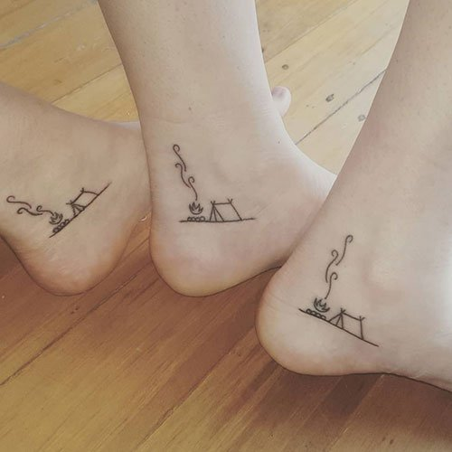 Side Of Foot Matching Tattoo
