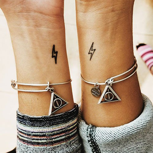 Simple Matching Wrist Tattoo