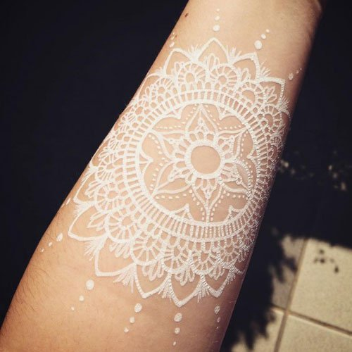 White Ink Tattoo Designs on White Skin