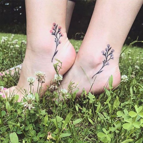 Flower Sister Tattoo Designs on Ankle