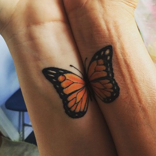 Matching Butterfly Mother Daughter Tattoo