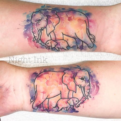 Matching Elephant Mother Daughter Tattoos
