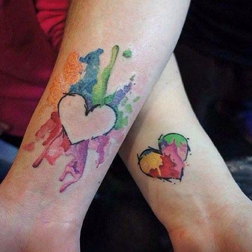 Mother Daughter Heart Tattoo Design