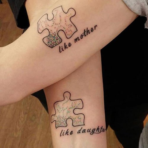 Mother Daughter Puzzle Tattoo Design