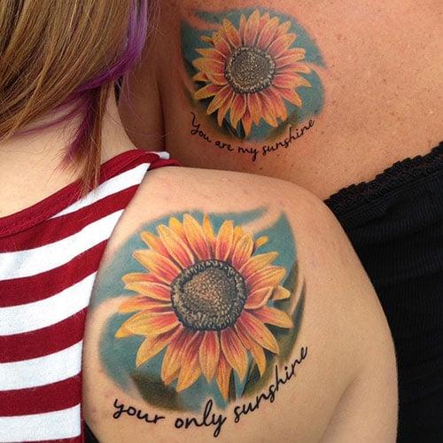Mother Daughter Sunflower Tattoo