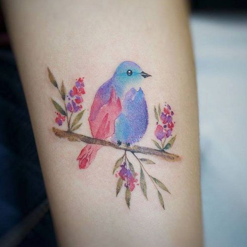 Mother Daughter Watercolor Tattoo Idea