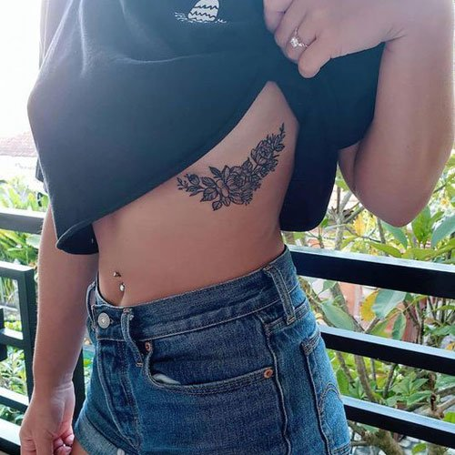 Sexy Flower Rib Tattoos For Women