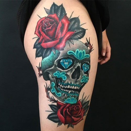 Sugar Skull Tattoos For Girls