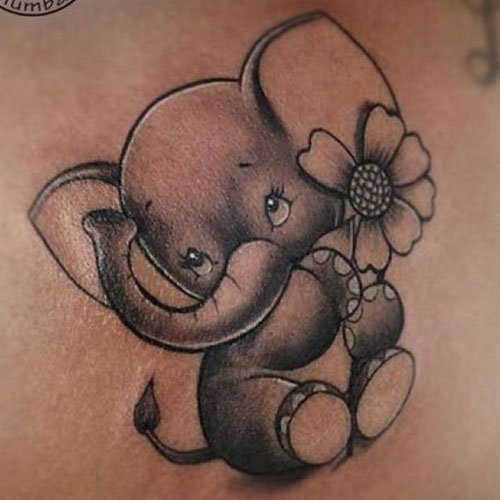 Adorable Baby Elephant Tattoo