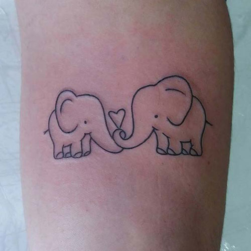 Adorable Elephant Heart Tattoo
