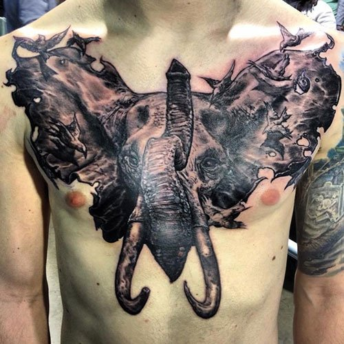 Best Elephant Chest Tattoo