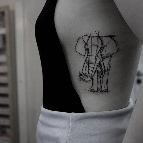 Best Elephant Outline Tattoo