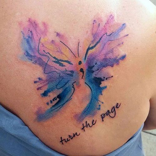 Best Mental Health Tattoo Ideas - Butterfly with Semicolon and Quote