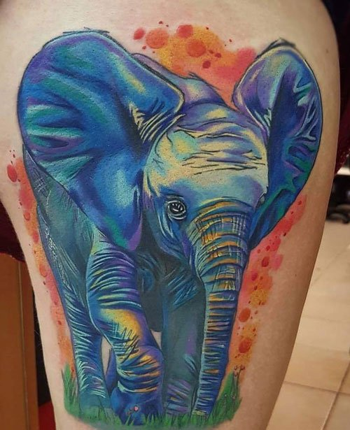 Big Elephant Tattoo on Leg