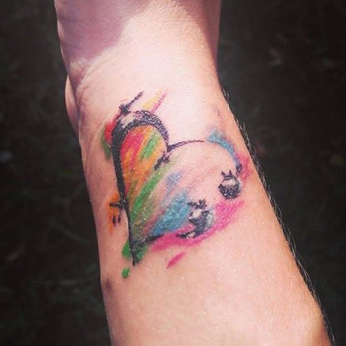 Colorful Heart Semicolon Tattoo on Wrist Forearm