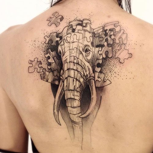 Cool Elephant Back Tattoo