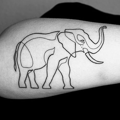 Cool Elephant Outline Tattoo