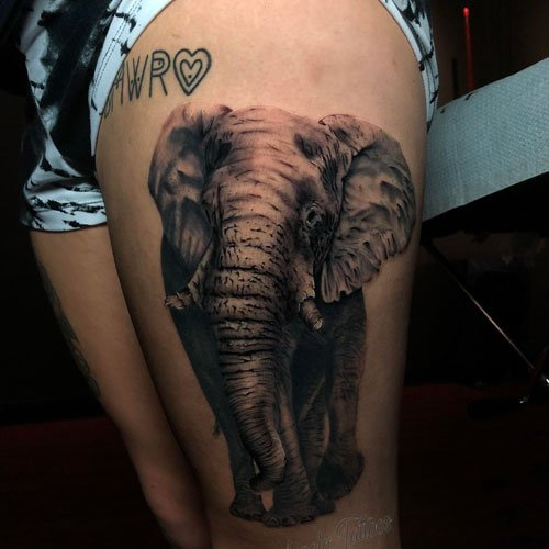 Cool Realistic Elephant Tattoo Designs