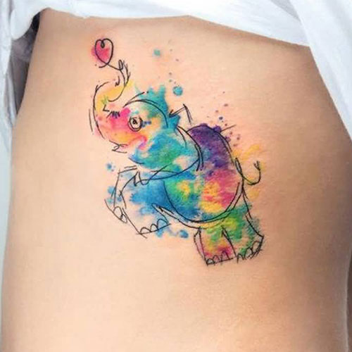 Cute Colorful Elephant Tattoo