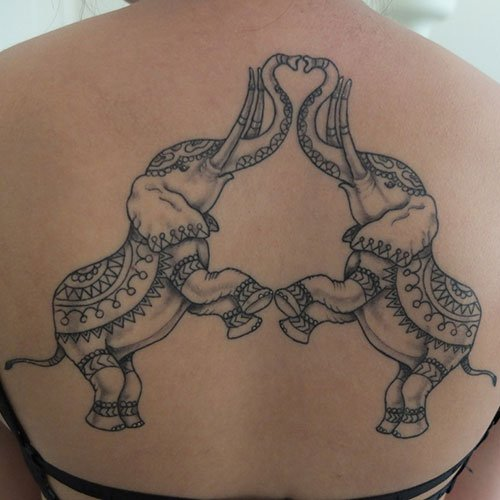 Cute Elephant Heart Tattoo