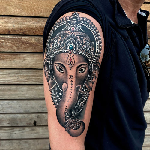 Hindu Elephant Arm Tattoo