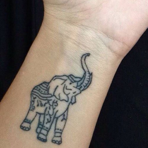 Indian Elephant Wrist Tattoo