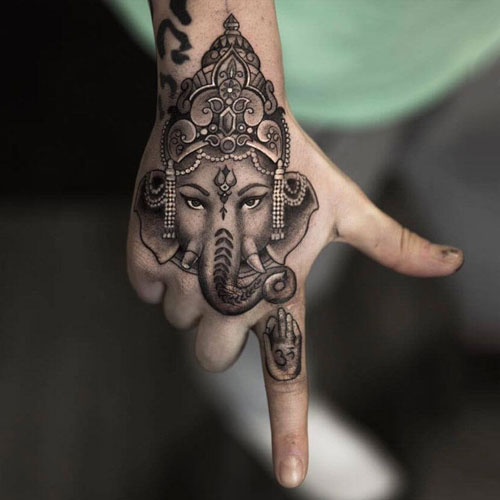Indian Hand Elephant Tattoo