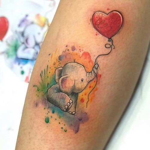 Meaningful Elephant Heart Tattoo
