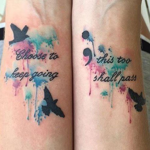 Meaningful Quote with Colorful Semicolon Tattoo