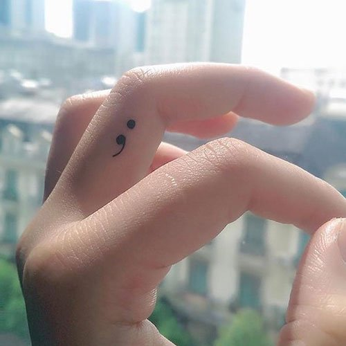 Semicolon Tattoo on Finger