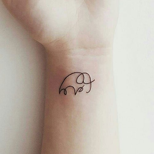 Simple Creative Elephant Tattoo Outline