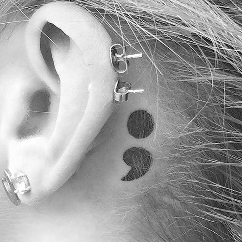 Simple Semicolon Tattoo Back of Ear