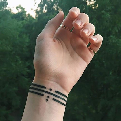 Suicide Mental Health Semicolon Tattoo