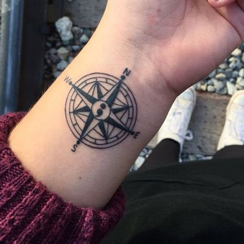 Unique Compass Semicolon Tattoo For Good Mental Health