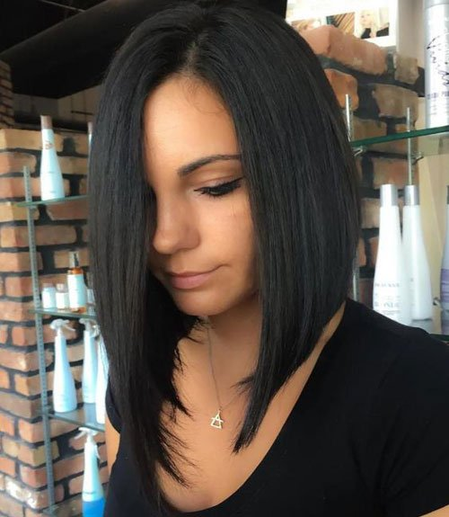 Asymmetrical Lob Hairstyle