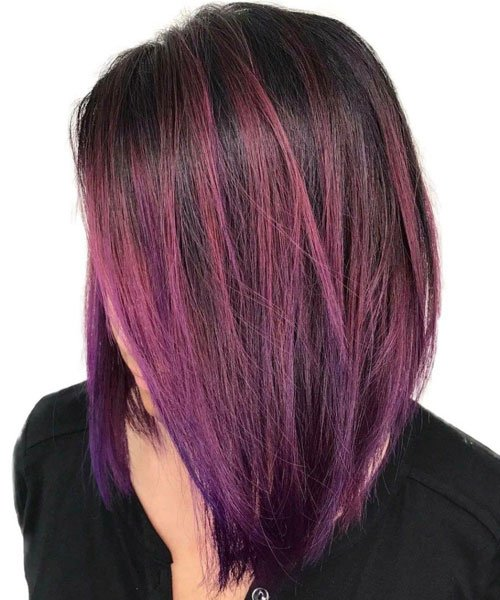 Long Bob with Purple Hair Color