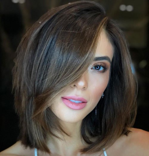 Long Bob with Side Part Bangs