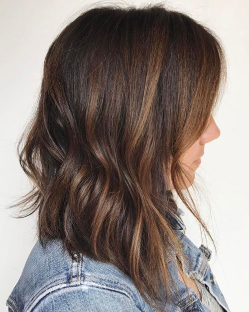 Long Brunette Bob Hairstyle
