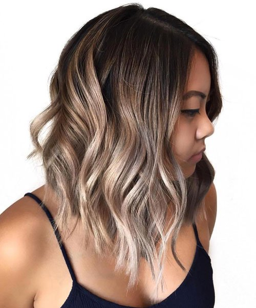 Wavy Asymmetrical Lob Haircut