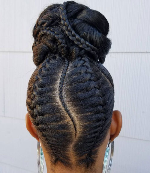 Black Girl Bun with Braid