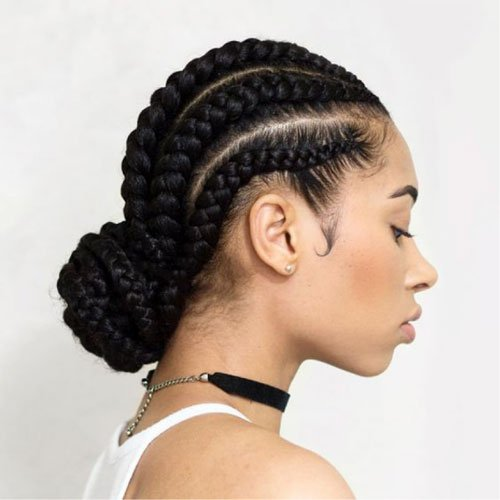 Cornrows Braided Into A Bun For Black Girl